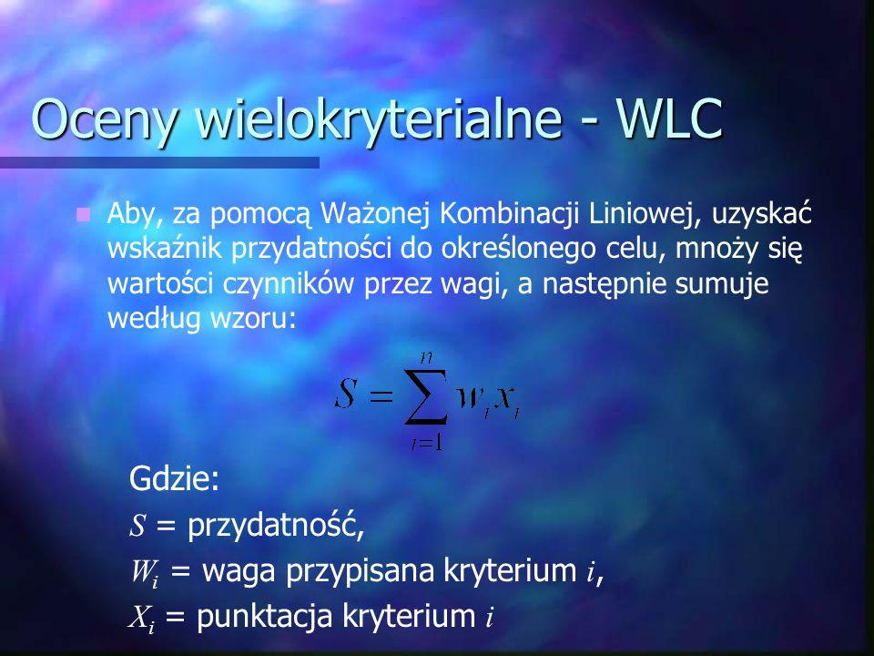 Oceny wielokryterialne - WLC Aby, za pomocą Ważonej Kombinacji Liniowej, uzyskać wskaźnik przydatności do określonego celu, mnoży się wartości czynnik