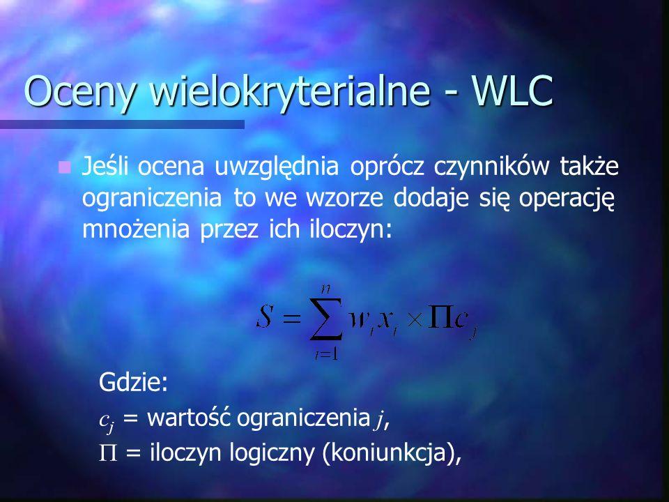 Oceny wielokryterialne - WLC Jeśli ocena uwzględnia oprócz czynników także ograniczenia to we wzorze dodaje się operację mnożenia przez ich iloczyn: G