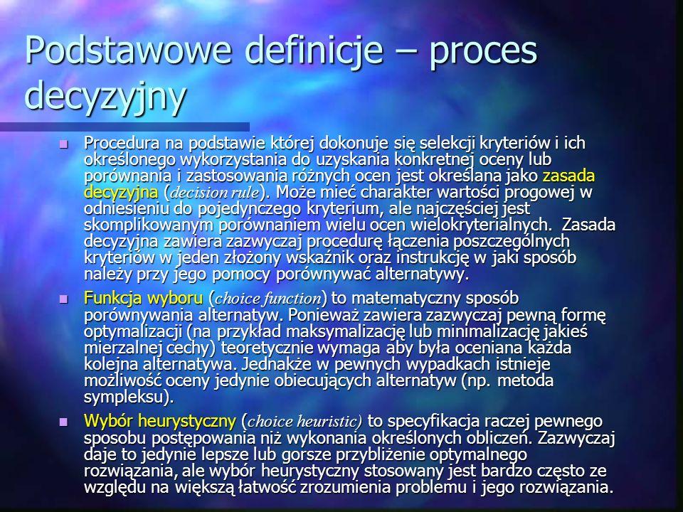 Podstawowe definicje – proces decyzyjny Procedura na podstawie której dokonuje się selekcji kryteriów i ich określonego wykorzystania do uzyskania kon
