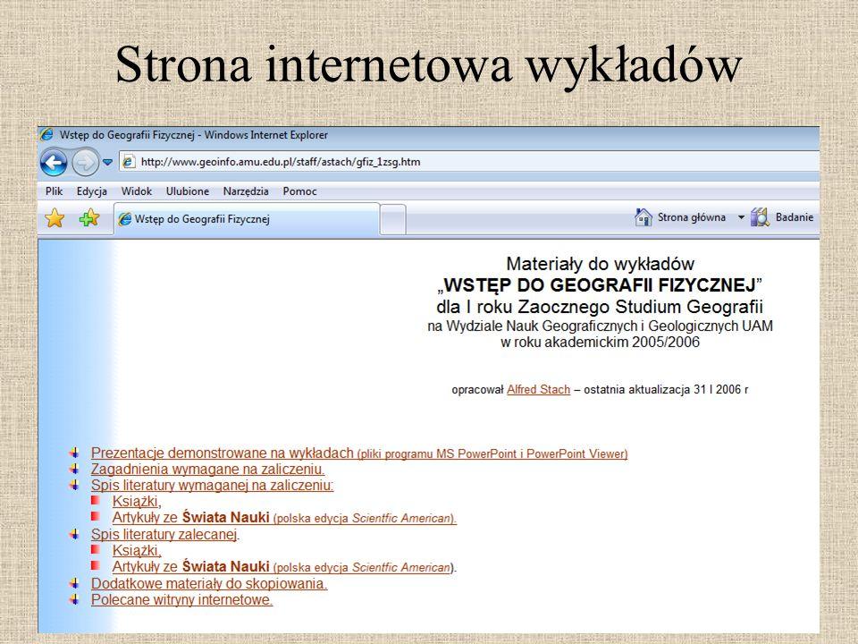 Strona internetowa wykładów
