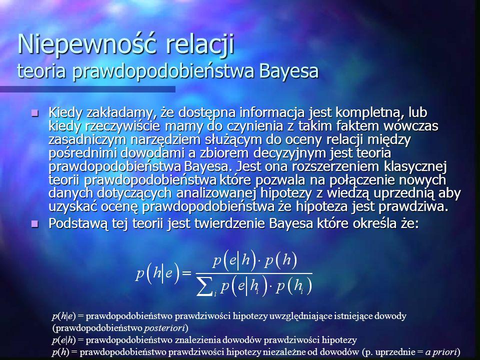 Niepewność relacji teoria prawdopodobieństwa Bayesa Kiedy zakładamy, że dostępna informacja jest kompletna, lub kiedy rzeczywiście mamy do czynienia z