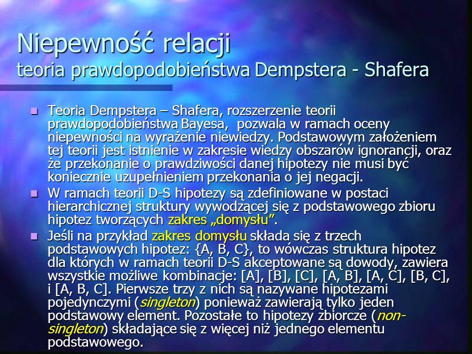 Niepewność relacji teoria prawdopodobieństwa Dempstera - Shafera Teoria Dempstera – Shafera, rozszerzenie teorii prawdopodobieństwa Bayesa, pozwala w