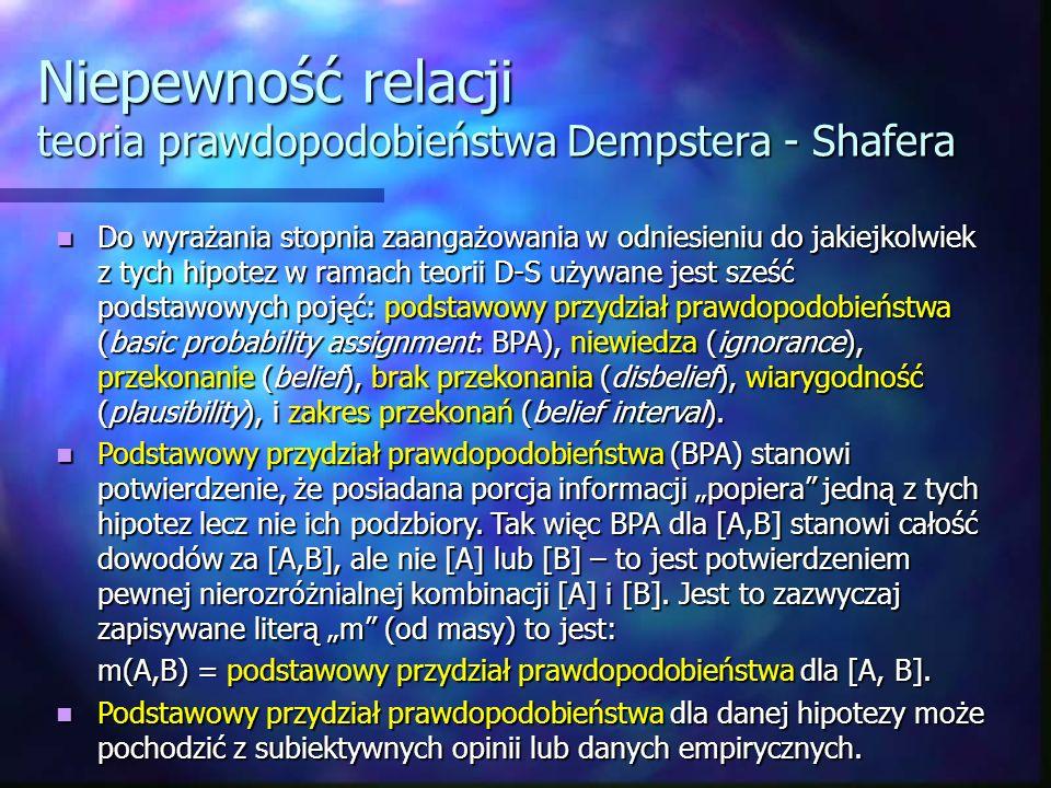 Niepewność relacji teoria prawdopodobieństwa Dempstera - Shafera Do wyrażania stopnia zaangażowania w odniesieniu do jakiejkolwiek z tych hipotez w ra