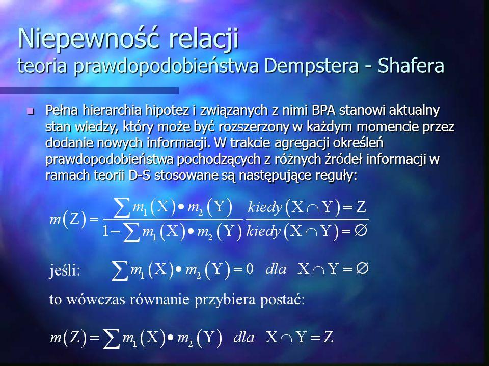 Niepewność relacji teoria prawdopodobieństwa Dempstera - Shafera Pełna hierarchia hipotez i związanych z nimi BPA stanowi aktualny stan wiedzy, który