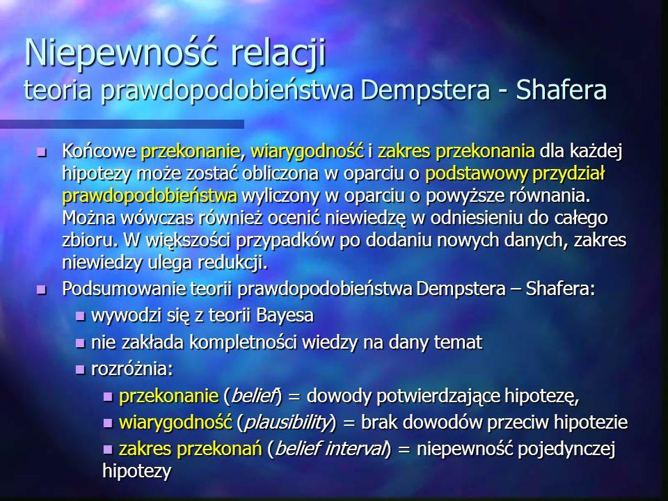 Niepewność relacji teoria prawdopodobieństwa Dempstera - Shafera Końcowe przekonanie, wiarygodność i zakres przekonania dla każdej hipotezy może zosta
