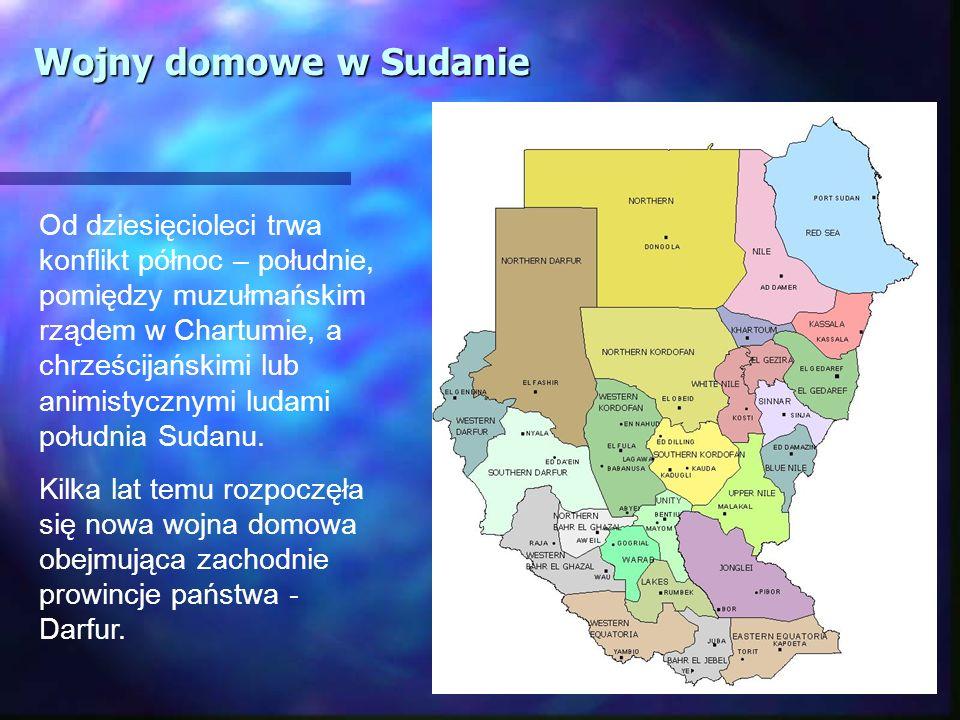 Od dziesięcioleci trwa konflikt północ – południe, pomiędzy muzułmańskim rządem w Chartumie, a chrześcijańskimi lub animistycznymi ludami południa Sud