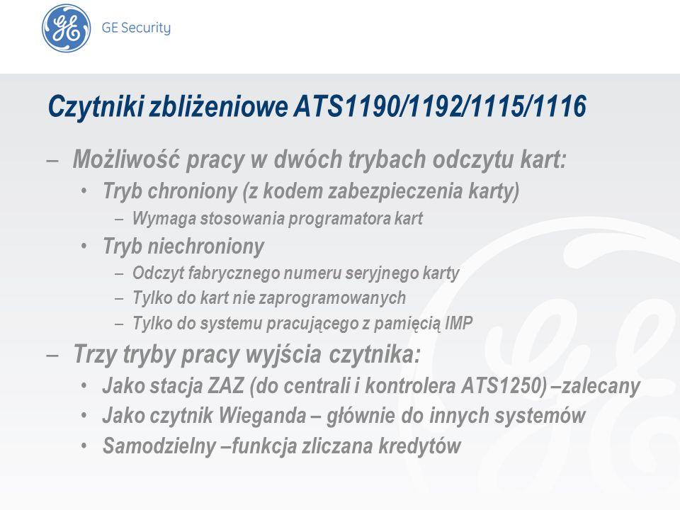 slide 10 Czytniki zbliżeniowe ATS1190/1192/1115/1116 – Możliwość pracy w dwóch trybach odczytu kart: Tryb chroniony (z kodem zabezpieczenia karty) – W