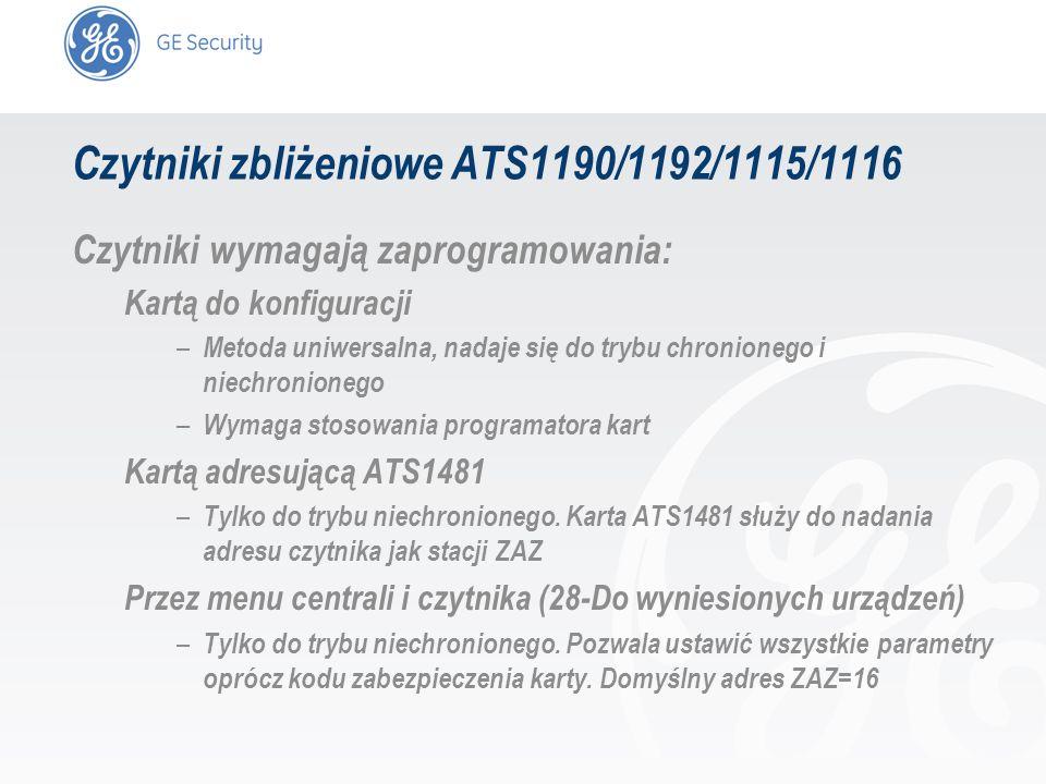 slide 11 Czytniki zbliżeniowe ATS1190/1192/1115/1116 Czytniki wymagają zaprogramowania: Kartą do konfiguracji – Metoda uniwersalna, nadaje się do tryb