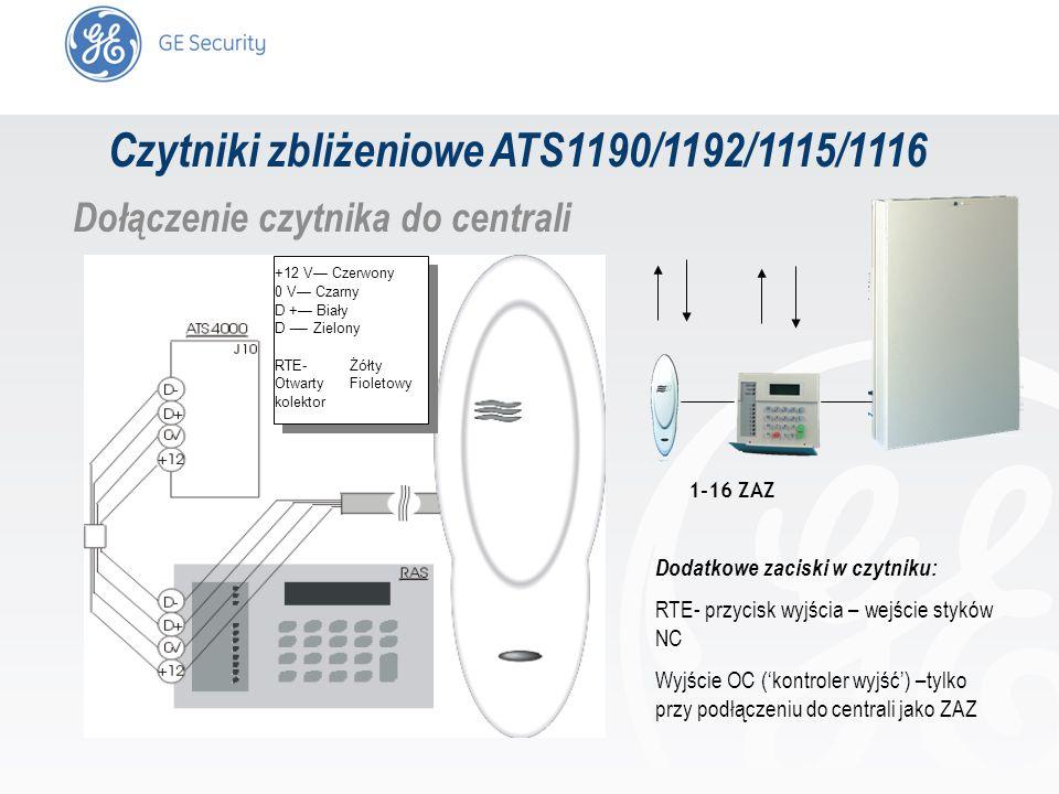 slide 12 Czytniki zbliżeniowe ATS1190/1192/1115/1116 Dołączenie czytnika do centrali +12 V Czerwony 0 V Czarny D + Biały D - Zielony RTE- Żółty Otwart