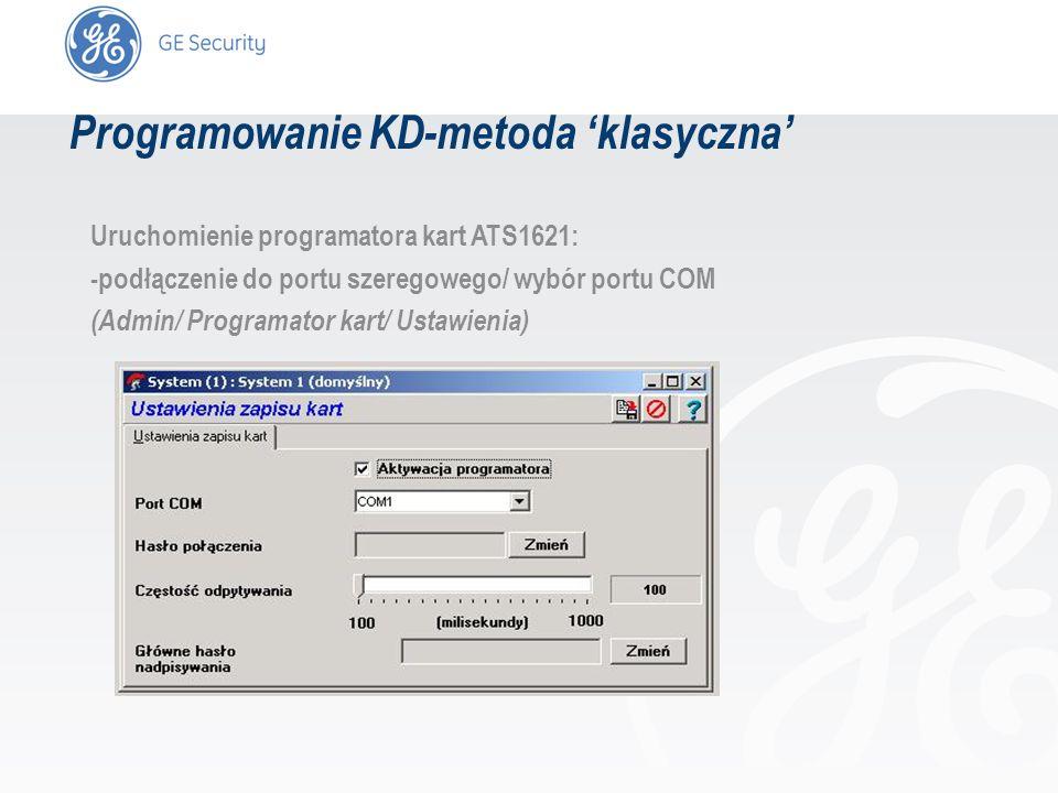 slide 18 Uruchomienie programatora kart ATS1621: -podłączenie do portu szeregowego/ wybór portu COM (Admin/ Programator kart/ Ustawienia) Programowani