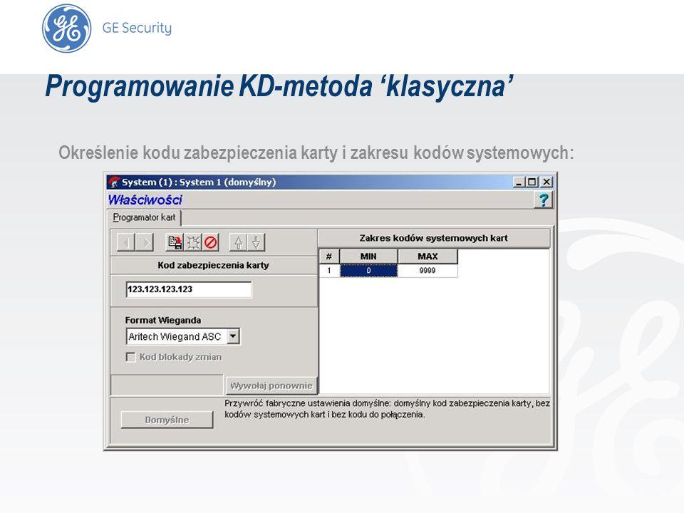 slide 19 Określenie kodu zabezpieczenia karty i zakresu kodów systemowych: Programowanie KD-metoda klasyczna