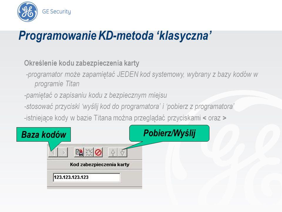 slide 21 Określenie kodu zabezpieczenia karty -programator może zapamiętać JEDEN kod systemowy, wybrany z bazy kodów w programie Titan -pamiętać o zap
