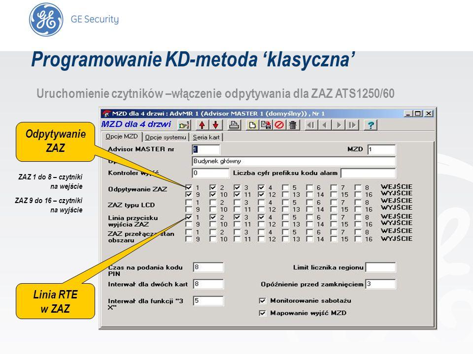 slide 27 Uruchomienie czytników –włączenie odpytywania dla ZAZ ATS1250/60 Odpytywanie ZAZ Linia RTE w ZAZ ZAZ 1 do 8 – czytniki na wejście ZAZ 9 do 16