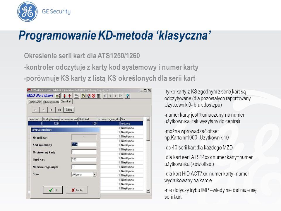 slide 29 Określenie serii kart dla ATS1250/1260 -kontroler odczytuje z karty kod systemowy i numer karty -porównuje KS karty z listą KS określonych dl