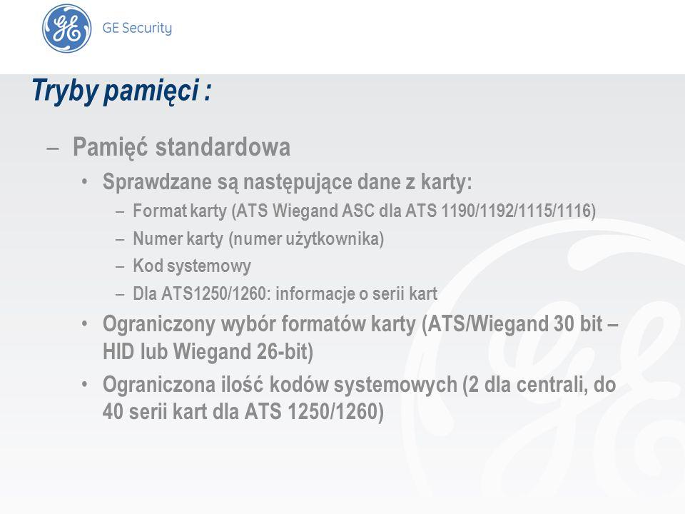 slide 3 – Pamięć standardowa Sprawdzane są następujące dane z karty: – Format karty (ATS Wiegand ASC dla ATS 1190/1192/1115/1116) – Numer karty (numer