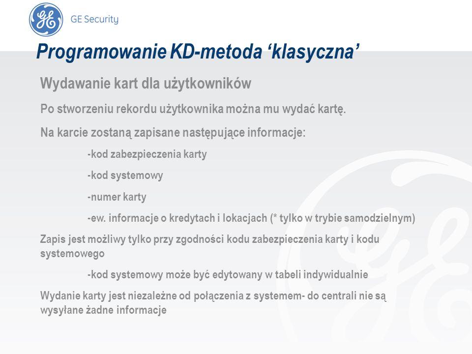 slide 33 Programowanie KD-metoda klasyczna Wydawanie kart dla użytkowników Po stworzeniu rekordu użytkownika można mu wydać kartę. Na karcie zostaną z