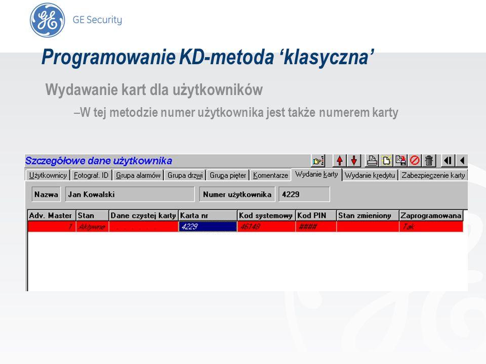 slide 34 Programowanie KD-metoda klasyczna Wydawanie kart dla użytkowników – W tej metodzie numer użytkownika jest także numerem karty