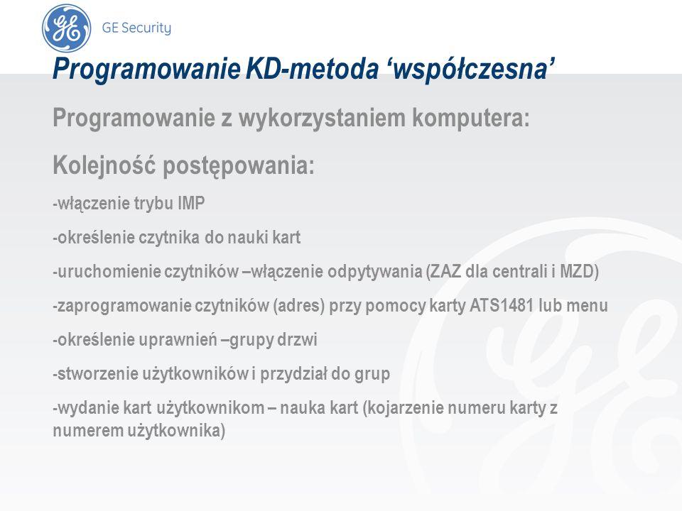 slide 36 Programowanie KD-metoda współczesna Programowanie z wykorzystaniem komputera: Kolejność postępowania: -włączenie trybu IMP -określenie czytni