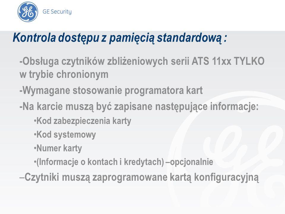 slide 4 Kontrola dostępu z pamięcią standardową : -Obsługa czytników zbliżeniowych serii ATS 11xx TYLKO w trybie chronionym -Wymagane stosowanie progr