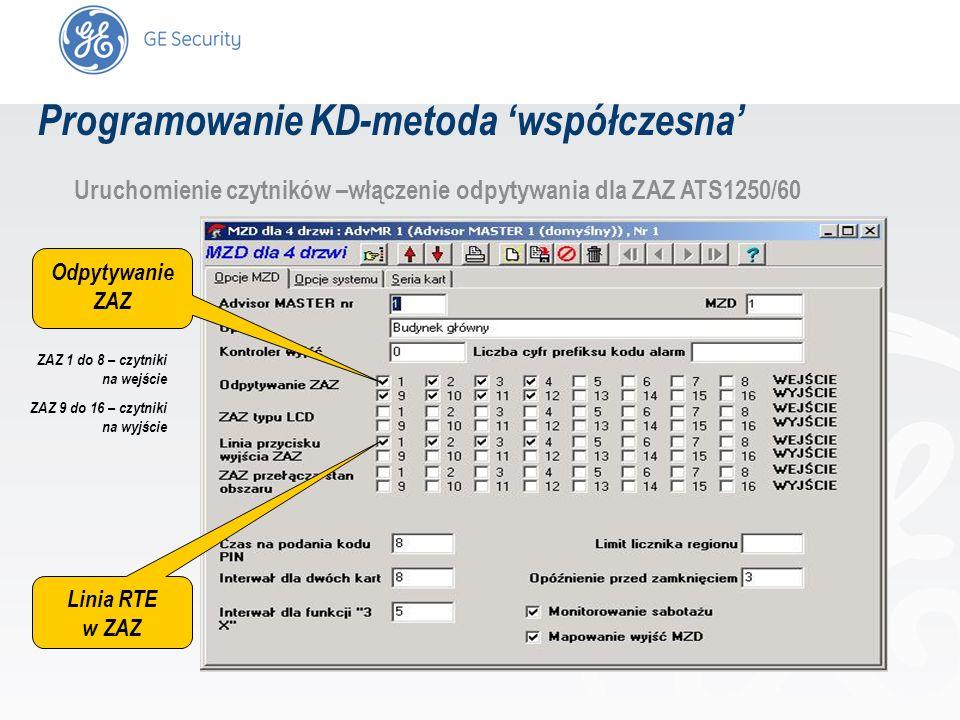 slide 42 Uruchomienie czytników –włączenie odpytywania dla ZAZ ATS1250/60 Odpytywanie ZAZ Linia RTE w ZAZ ZAZ 1 do 8 – czytniki na wejście ZAZ 9 do 16