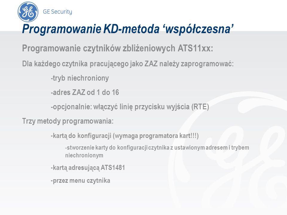 slide 43 Programowanie KD-metoda współczesna Programowanie czytników zbliżeniowych ATS11xx: Dla każdego czytnika pracującego jako ZAZ należy zaprogram