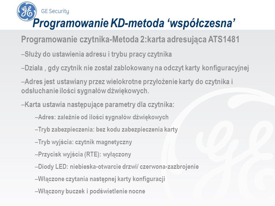slide 45 Programowanie KD-metoda współczesna Programowanie czytnika-Metoda 2:karta adresująca ATS1481 – Służy do ustawienia adresu i trybu pracy czytn