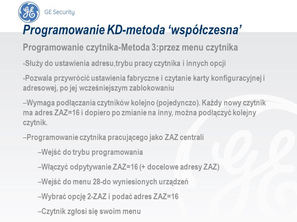 slide 47 Programowanie KD-metoda współczesna Programowanie czytnika-Metoda 3:przez menu czytnika -Służy do ustawienia adresu,trybu pracy czytnika i in