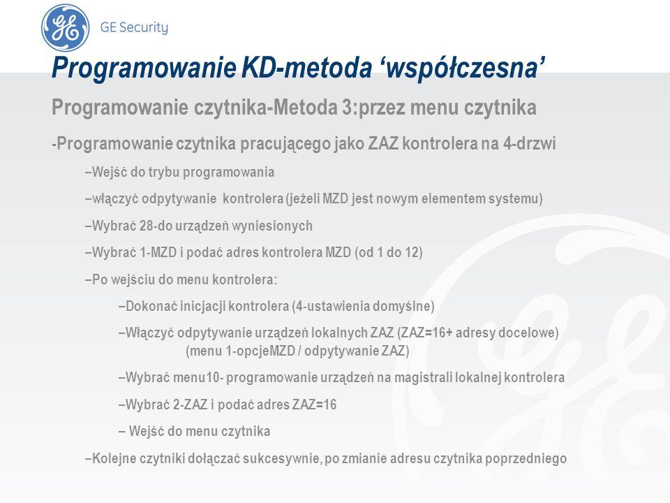 slide 48 Programowanie KD-metoda współczesna Programowanie czytnika-Metoda 3:przez menu czytnika -Programowanie czytnika pracującego jako ZAZ kontrole