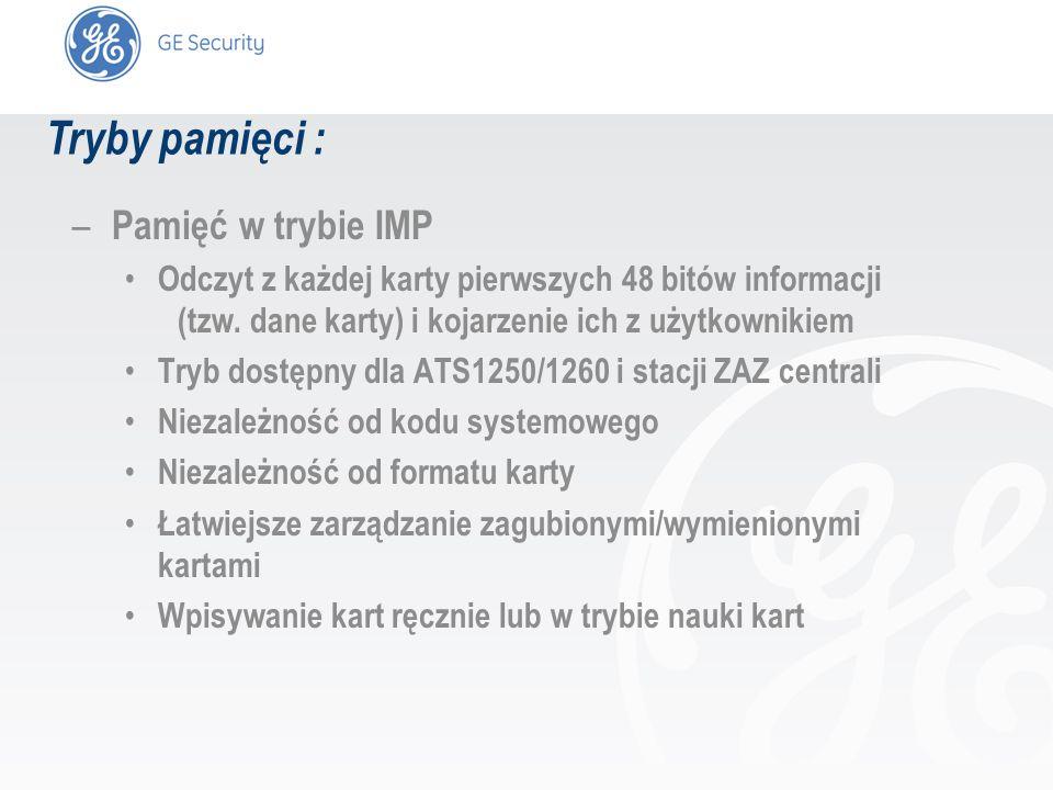 slide 6 Kontrola dostępu z pamięcią IMP : – Obsługa czytników zbliżeniowych serii ATS 11xx w trybie chronionym i niechronionym (jako stacje ZAZ) – Obsługa dowolnych czytników Wieganda HID w trybie 30-bitowym (seria ACI 7xxx) OneCard ACI 711/712 Mifare ACI 406/407 Inne – Czytniki Wieganda podłączane : Bezpośrednio do wejść Wieganda w ATS1250 (4 wejściowe) Do interfejsów ATS1170 (ZAZ) centrali i ATS1250/60