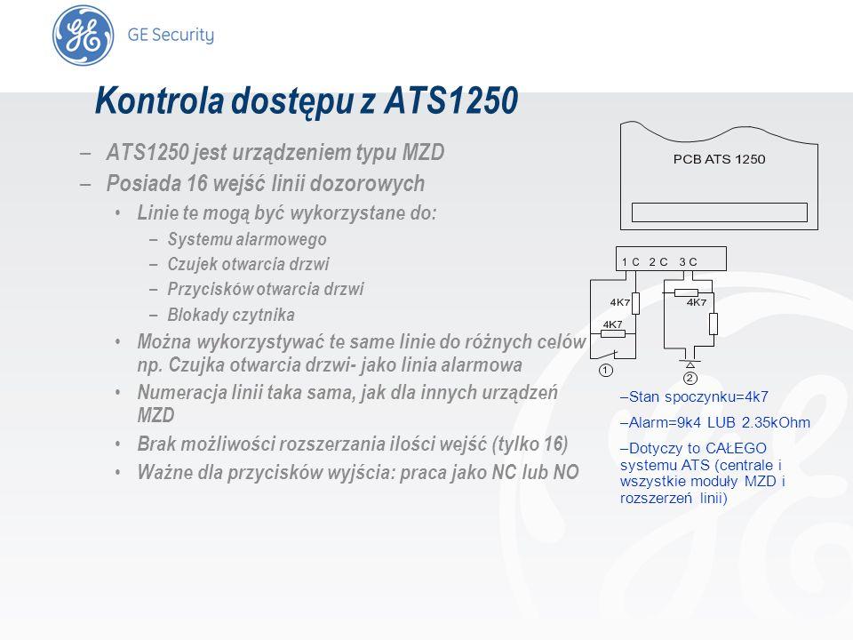 slide 55 Kontrola dostępu z ATS1250 – ATS1250 jest urządzeniem typu MZD – Posiada 16 wejść linii dozorowych Linie te mogą być wykorzystane do: – Syste
