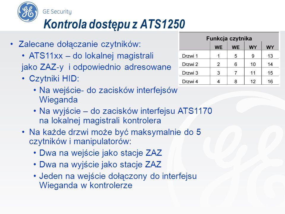 slide 57 Kontrola dostępu z ATS1250 Zalecane dołączanie czytników: ATS11xx – do lokalnej magistrali jako ZAZ-y i odpowiednio adresowane Czytniki HID: