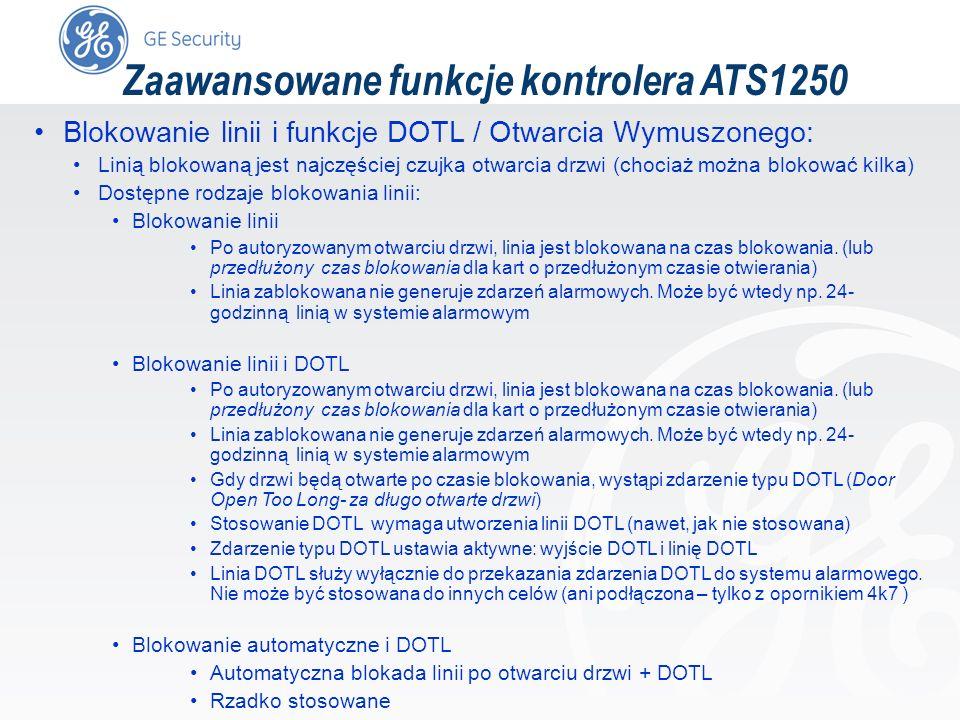 slide 60 Zaawansowane funkcje kontrolera ATS1250 Blokowanie linii i funkcje DOTL / Otwarcia Wymuszonego: Linią blokowaną jest najczęściej czujka otwar