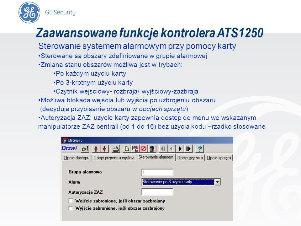slide 63 Zaawansowane funkcje kontrolera ATS1250 Sterowanie systemem alarmowym przy pomocy karty Sterowane są obszary zdefiniowane w grupie alarmowej