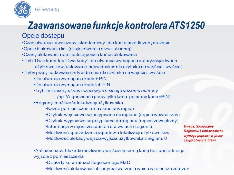 slide 64 Zaawansowane funkcje kontrolera ATS1250 Opcje dostępu Czas otwarcia: dwa czasy: standardowy i dla kart o przedłużonym czasie Opcje blokowania