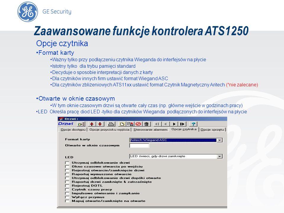 slide 66 Zaawansowane funkcje kontrolera ATS1250 Opcje czytnika Format karty Ważny tylko przy podłączeniu czytnika Wieganda do interfejsów na płycie I