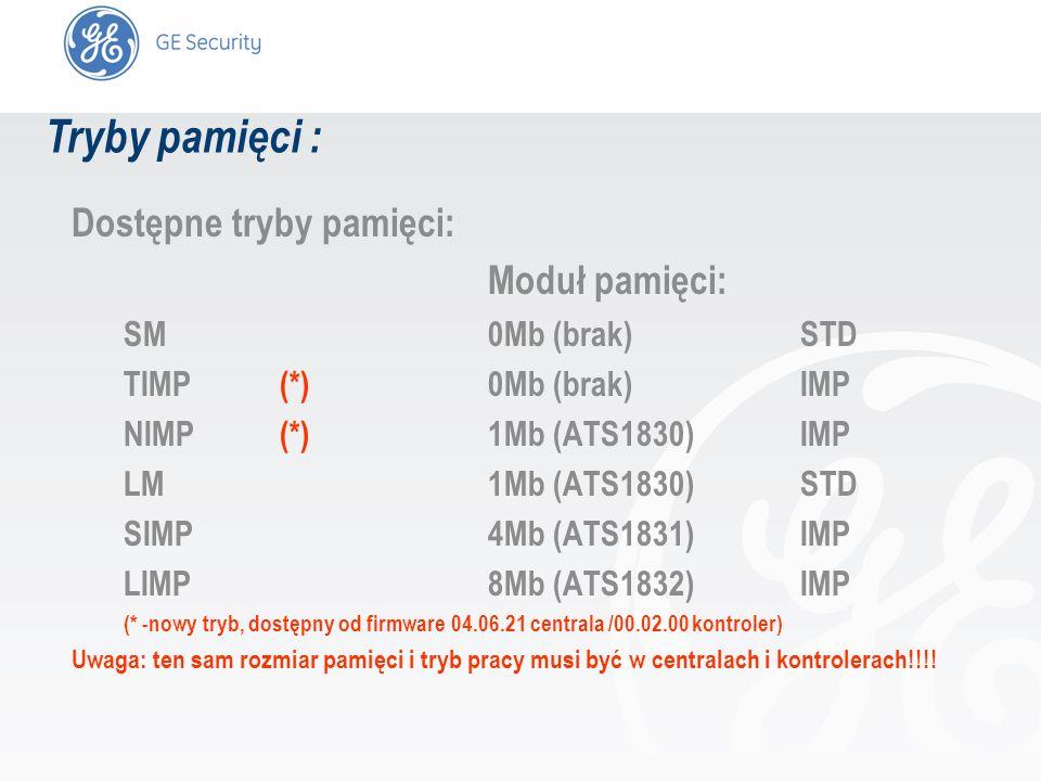 slide 8 Tryby pamięci : Dostępne tryby pamięci: Moduł pamięci: SM0Mb (brak)STD TIMP(*)0Mb (brak)IMP NIMP(*)1Mb (ATS1830)IMP LM1Mb (ATS1830)STD SIMP4Mb