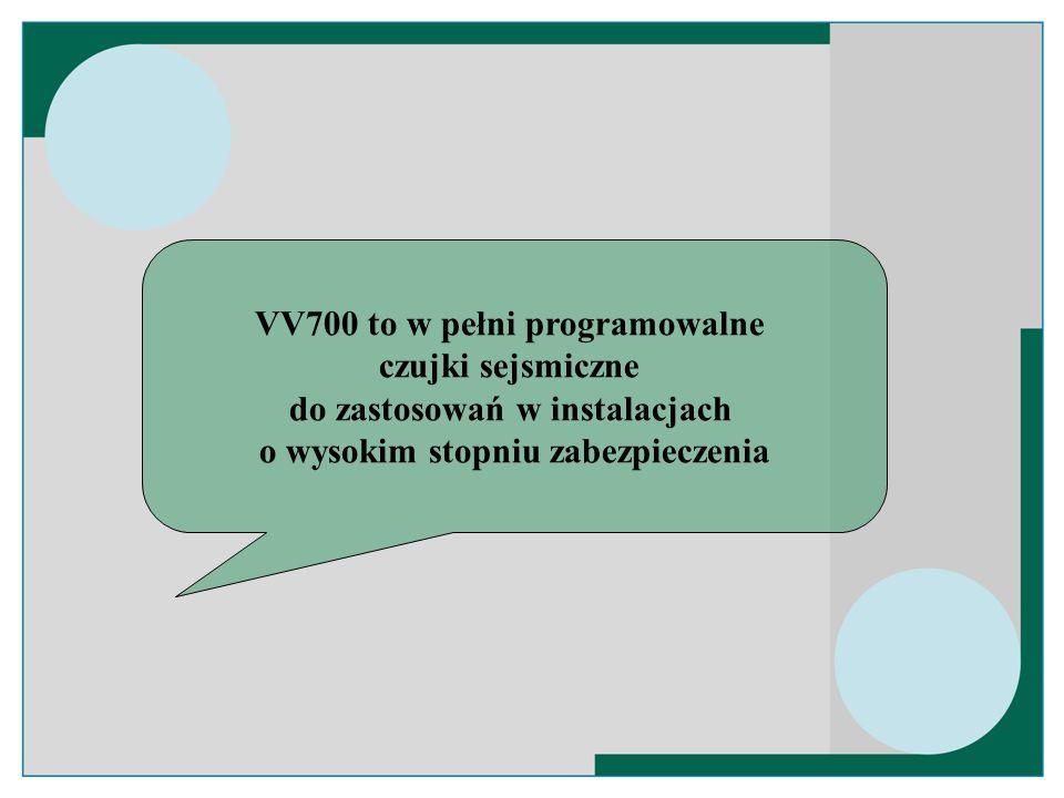 Cechy VV700 Uniwersalność = jedna czujka do wszystkich zastosowań Cyfrowa obróbka sygnału Dedykowane oprogramowanie SCM700 Programowanie u użytkownika = całkowita elastyczność Łatwe programowanie z PC Możliwość dopasowania do istniejących instalacji