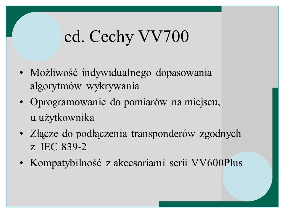 cd. Cechy VV700 Możliwość indywidualnego dopasowania algorytmów wykrywania Oprogramowanie do pomiarów na miejscu, u użytkownika Złącze do podłączenia