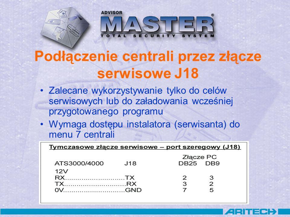 Podłączenie centrali przez złącze serwisowe J18 Zalecane wykorzystywanie tylko do celów serwisowych lub do załadowania wcześniej przygotowanego progra
