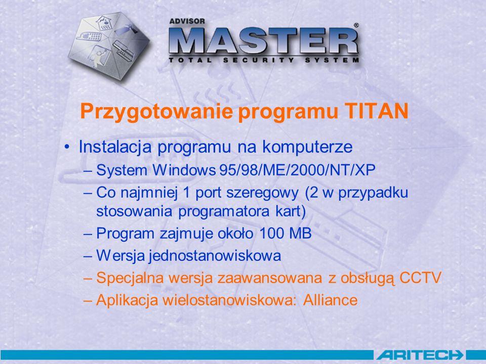 Przygotowanie programu TITAN Instalacja programu na komputerze –System Windows 95/98/ME/2000/NT/XP –Co najmniej 1 port szeregowy (2 w przypadku stosow