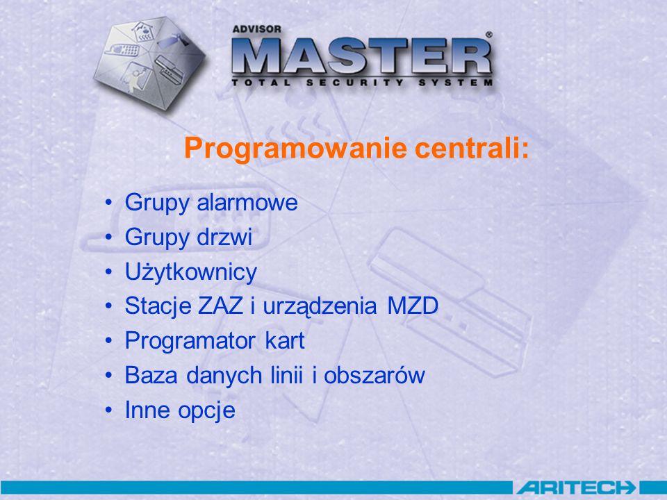 Programowanie centrali: Grupy alarmowe Grupy drzwi Użytkownicy Stacje ZAZ i urządzenia MZD Programator kart Baza danych linii i obszarów Inne opcje