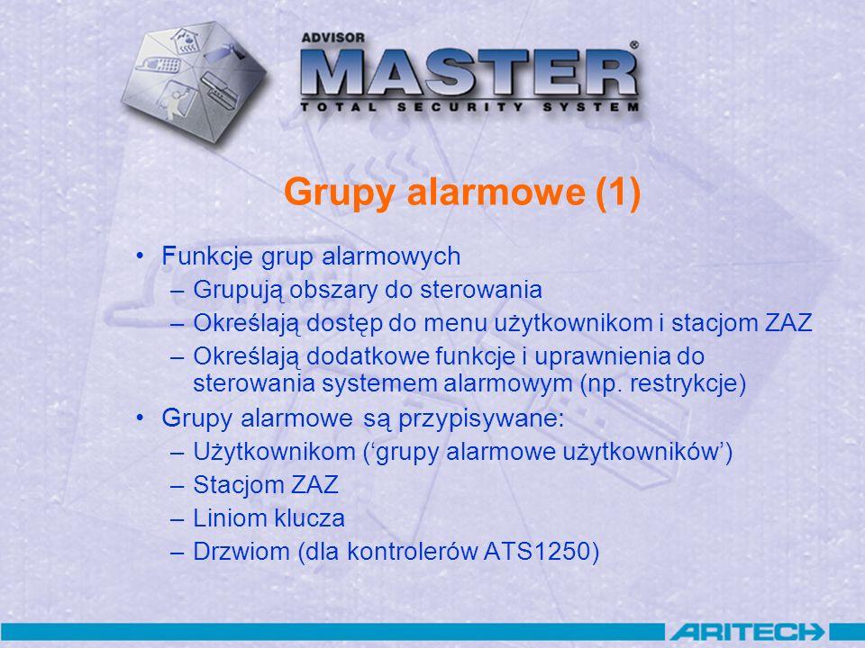 Grupy alarmowe (1) Funkcje grup alarmowych –Grupują obszary do sterowania –Określają dostęp do menu użytkownikom i stacjom ZAZ –Określają dodatkowe fu