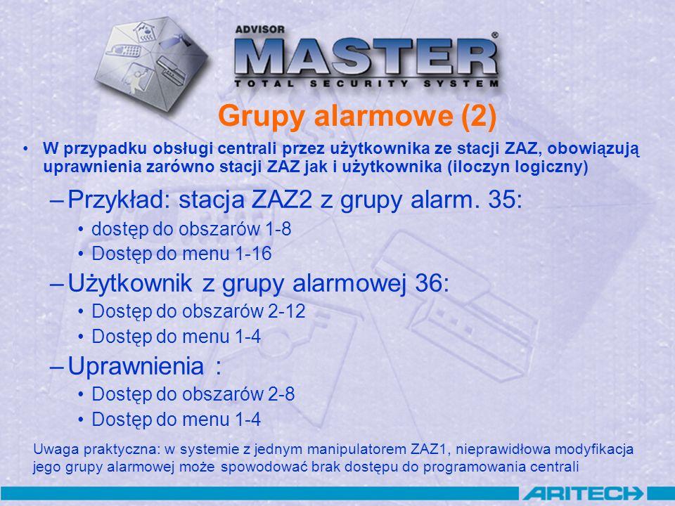 Grupy alarmowe (2) W przypadku obsługi centrali przez użytkownika ze stacji ZAZ, obowiązują uprawnienia zarówno stacji ZAZ jak i użytkownika (iloczyn