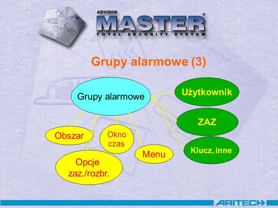 Grupy alarmowe (3) Grupy alarmowe Obszar Okno czas Opcje zaz./rozbr. Menu Użytkownik ZAZ Klucz, inne