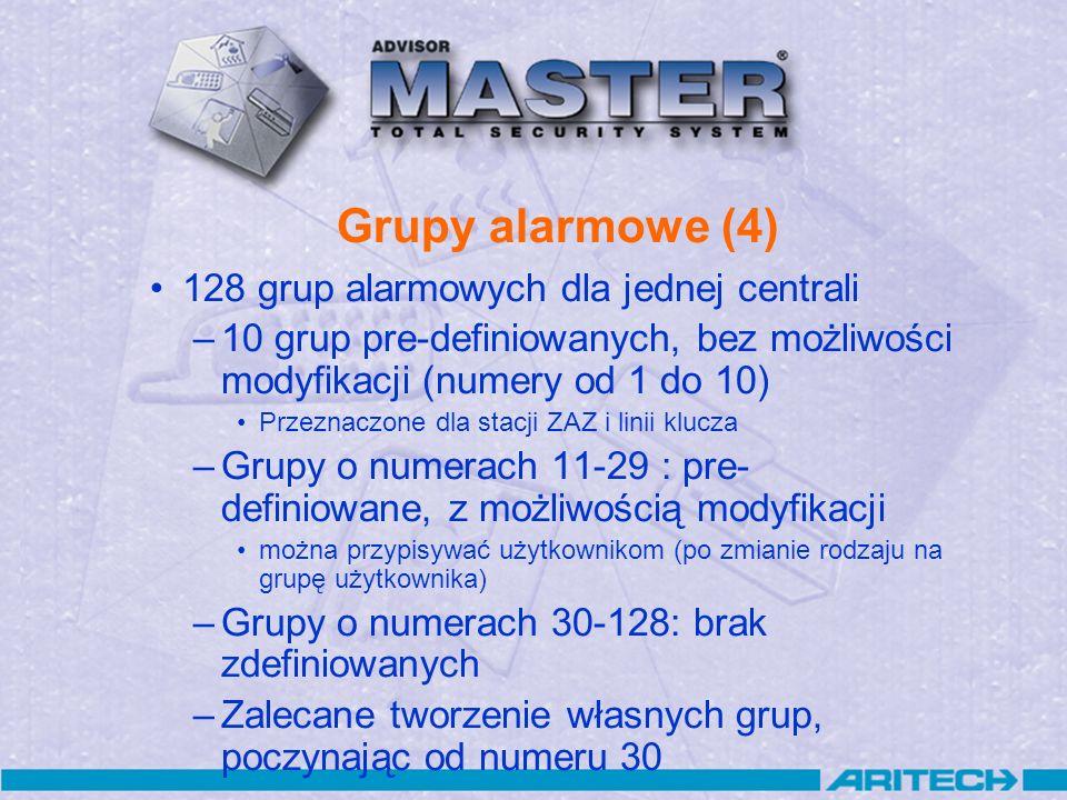 Grupy alarmowe (4) 128 grup alarmowych dla jednej centrali –10 grup pre-definiowanych, bez możliwości modyfikacji (numery od 1 do 10) Przeznaczone dla