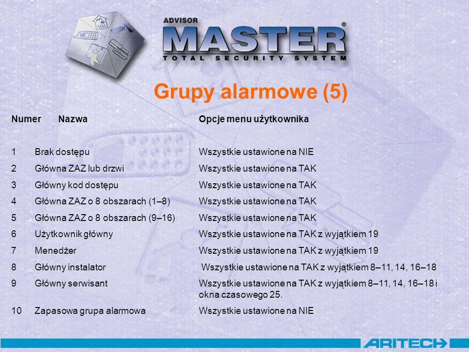 Grupy alarmowe (5) NumerNazwaOpcje menu użytkownika 1Brak dostępu Wszystkie ustawione na NIE 2Główna ZAZ lub drzwiWszystkie ustawione na TAK 3Główny k