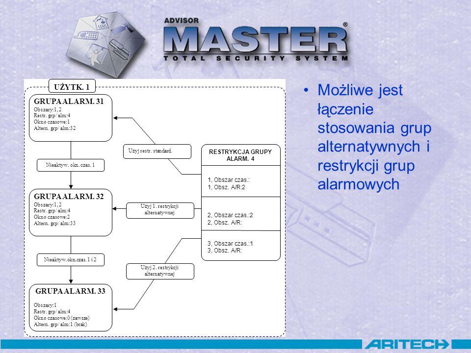 Możliwe jest łączenie stosowania grup alternatywnych i restrykcji grup alarmowych GRUPA ALARM. 31 Obszary:1, 2 Restr. grp/ alm:4 Okno czasowe:1 Altern
