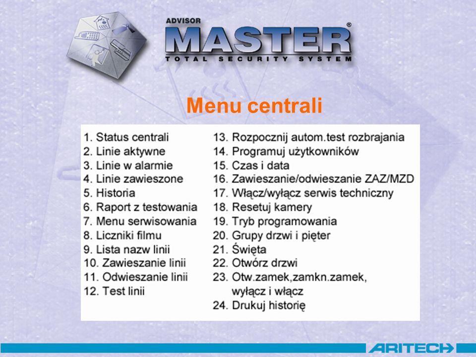 Domyślne kody centrali Instalatora nr 50: 1278 –Dostęp do menu 19 (Programowanie centrali) –Brak dostępu do sterowania systemem alarmowym –Brak uprawnień do tworzenia/ kasowania użytkowników Głównego użytkownika nr 1: 1122 –Brak dostępu do menu 19