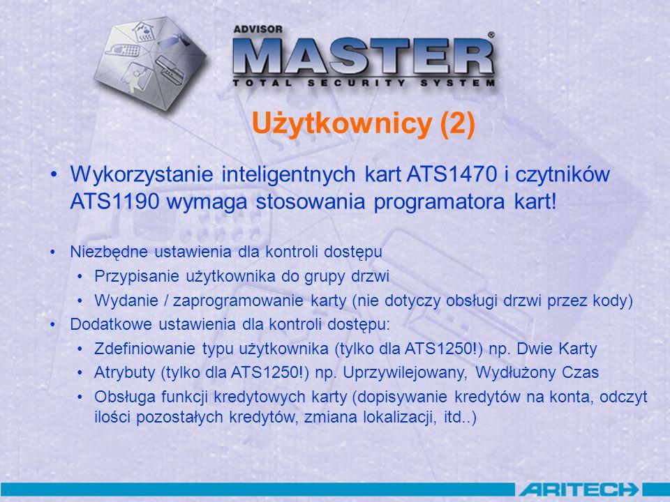 Użytkownicy (2) Wykorzystanie inteligentnych kart ATS1470 i czytników ATS1190 wymaga stosowania programatora kart! Niezbędne ustawienia dla kontroli d