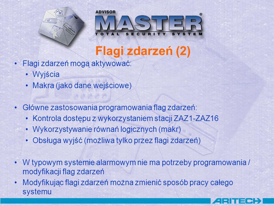 Flagi zdarzeń (2) Flagi zdarzeń mogą aktywować: Wyjścia Makra (jako dane wejściowe) Główne zastosowania programowania flag zdarzeń: Kontrola dostępu z